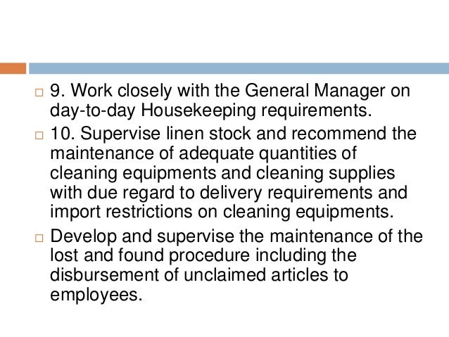 Beautiful SlideShare And Duties Of A Housekeeper