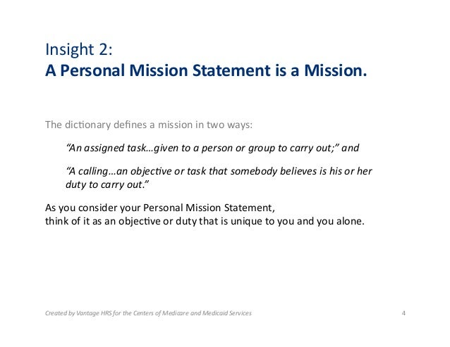 mission statement of a person