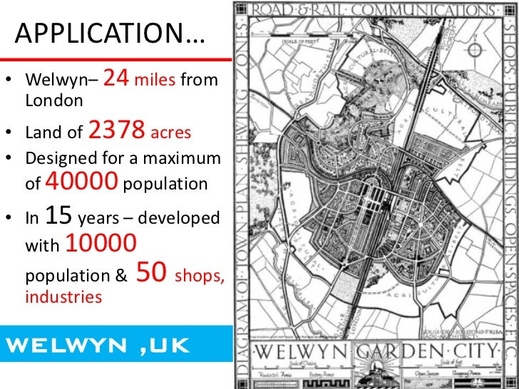 APPLICATION…• Welwyn– 24 miles from  London• Land of 2378 acres• Designed for a maximum  of 40000 population• In 15 years ...