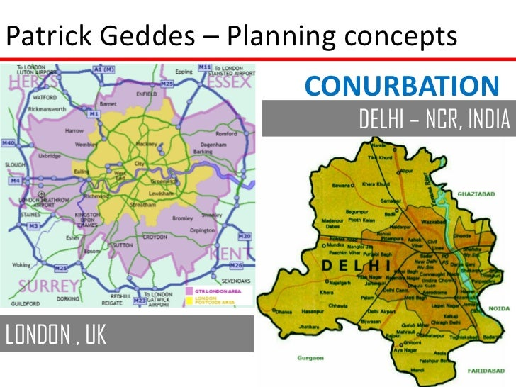 Patrick Geddes – Planning concepts                      CONURBATION                          DELHI – NCR, INDIALONDON , UK