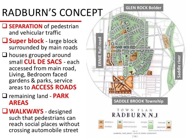 GLEN ROCK BolderRADBURN'S CONCEPT SEPARATION of pedestrian  and vehicular trafficSuper block - large block              ...