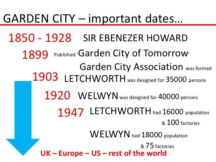 GARDEN CITY – important dates… 1850 - 1928 SIR EBENEZER HOWARD   1899 Published 'Garden City of Tomorrow'                 ...