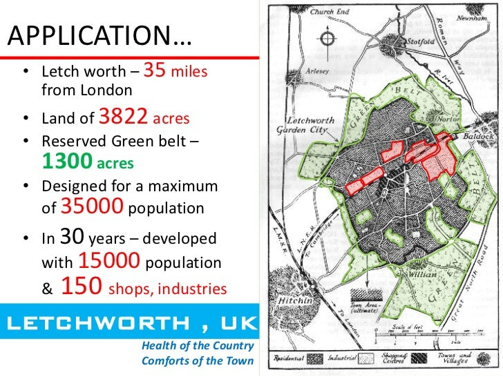APPLICATION… • Letch worth – 35 miles   from London • Land of 3822 acres • Reserved Green belt –   1300 acres • Designed f...