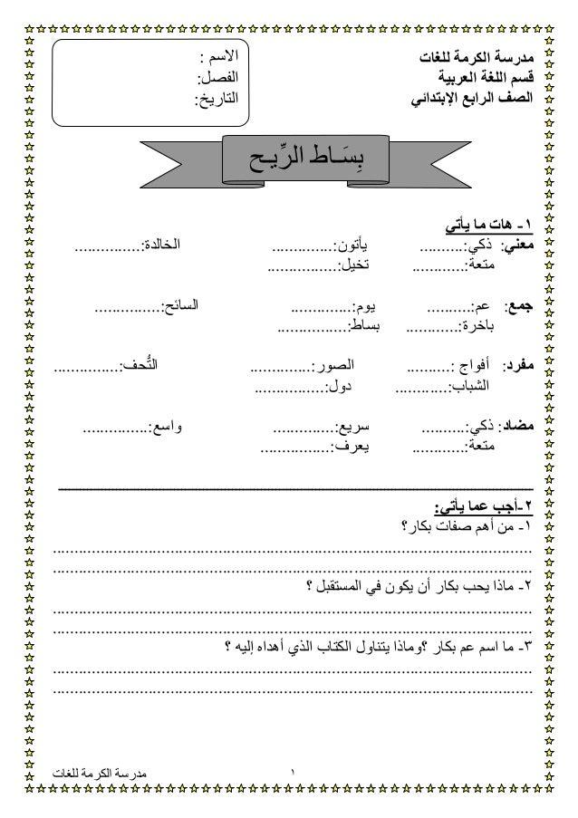 1 مدرسة الكرمة للغات  مدرسة الكرمة للغات  قسم اللغة العربية  الصف الرابع الإبتدائي  -1 هات ما يأتي  معني: ذكي:.......... ي...