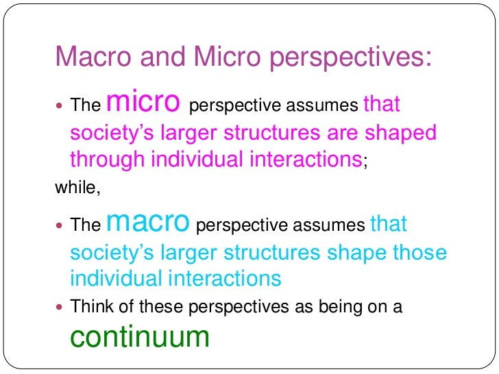 macro and micro sociology essays Explain the differences between macro and micro sociology identify some of the key sociological approaches in both areas which do you think is mo.