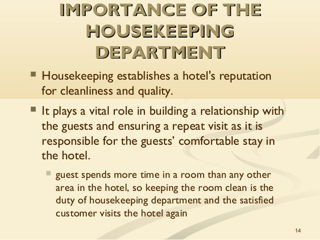 The role of the housekeeping department