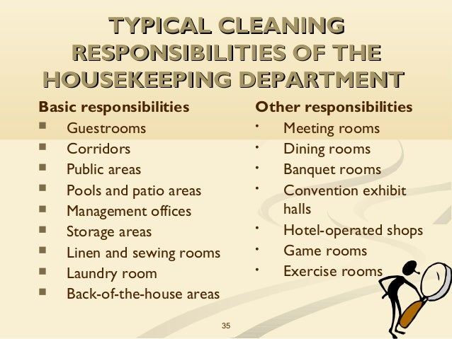 typical cleaning responsibilities of the housekeeping department 1 ...