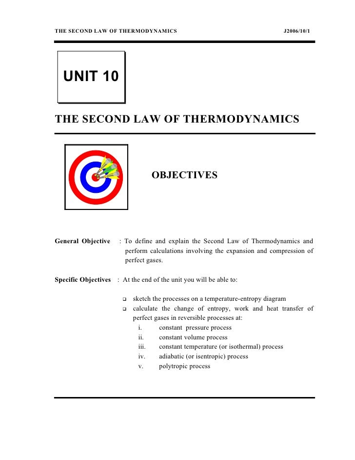 THE SECOND LAW OF THERMODYNAMICS                                             J2006/10/1  UNIT 10THE SECOND LAW OF THERMODY...