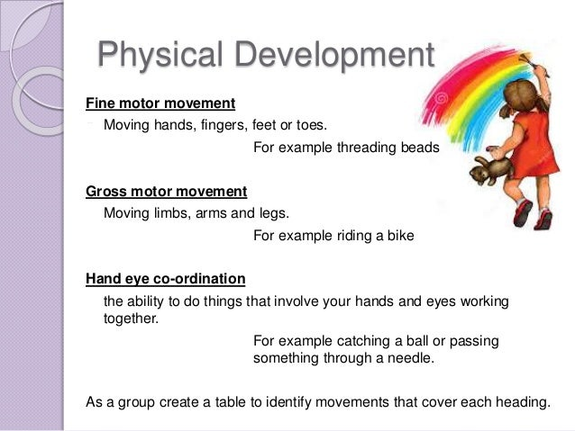 examples of physical development   Example