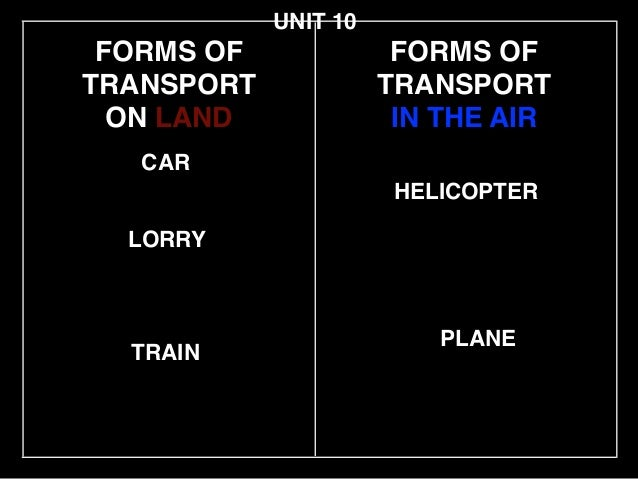 FORMS OF TRANSPORT! ON LAND LORRY CAR HELICOPTER UNIT 10 TRAIN PLANE FORMS OF TRANSPORT! IN THE AIR