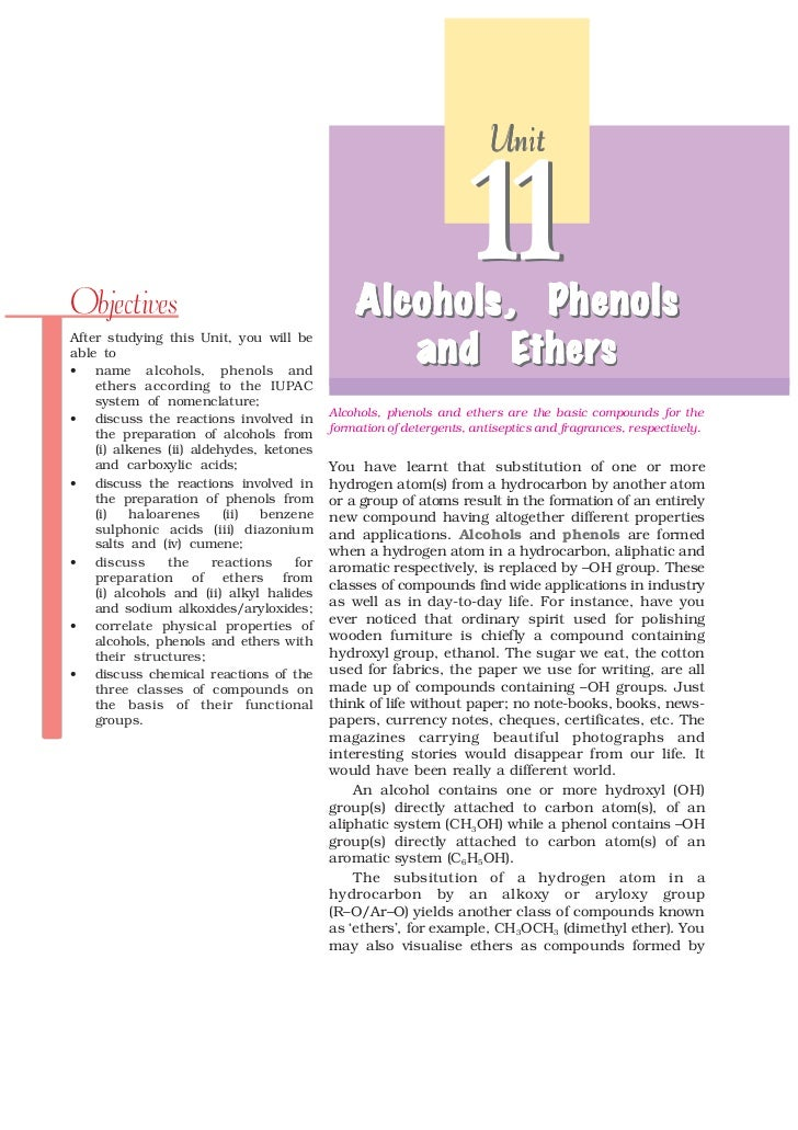 UnitObjectives                                    Alcohols , Phenols                                              Alcohols...