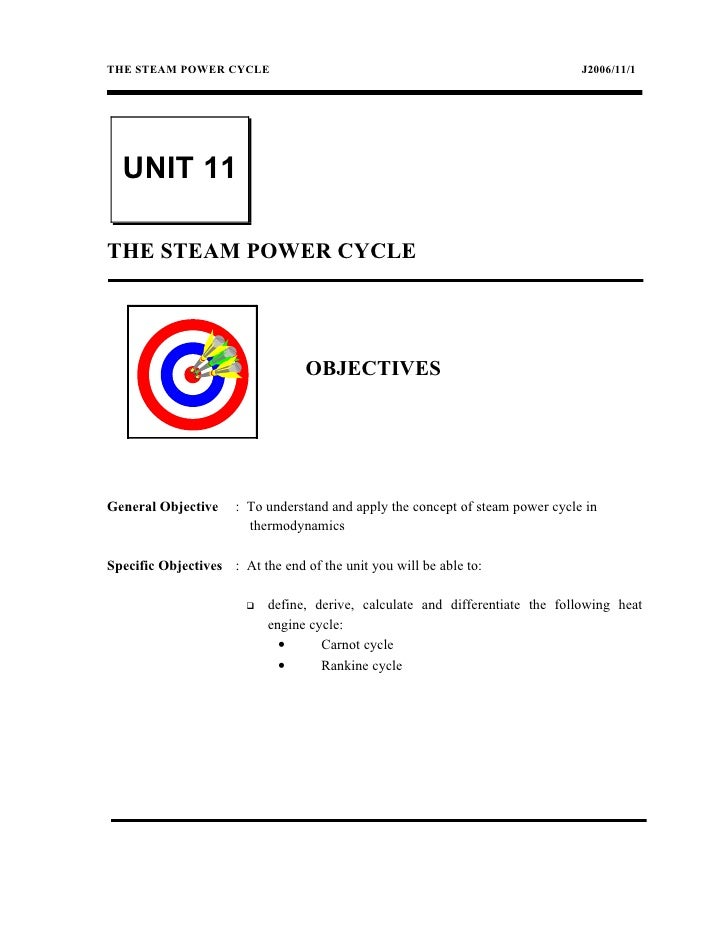 THE STEAM POWER CYCLE                                                           J2006/11/1  UNIT 11THE STEAM POWER CYCLE  ...