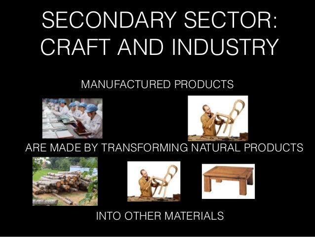 SECONDARY SECTOR: CRAFT AND INDUSTRY MANUFACTURED PRODUCTS ARE MADE BY TRANSFORMING NATURAL PRODUCTS INTO OTHER MATERIALS