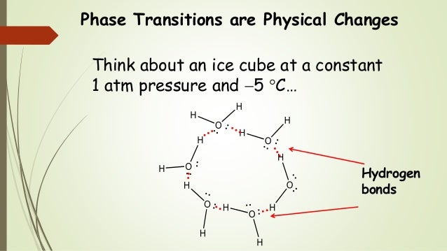 Phase Transitions are Physical Changes Think about an ice cube at a constant 1 atm pressure and 5 C… Hydrogen bonds