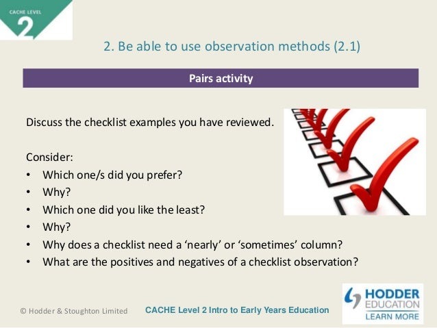 observation methods 21 29 cache level 2 intro to early years education hodder stoughton limited pairs activity discuss the checklist examples