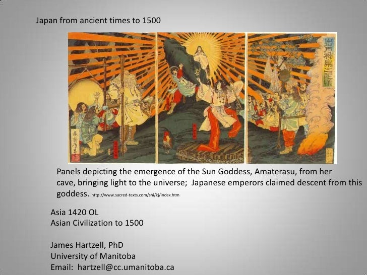Japan from ancient times to 1500<br />Panels depicting the emergence of the Sun Goddess, Amaterasu, from her cave, bringin...