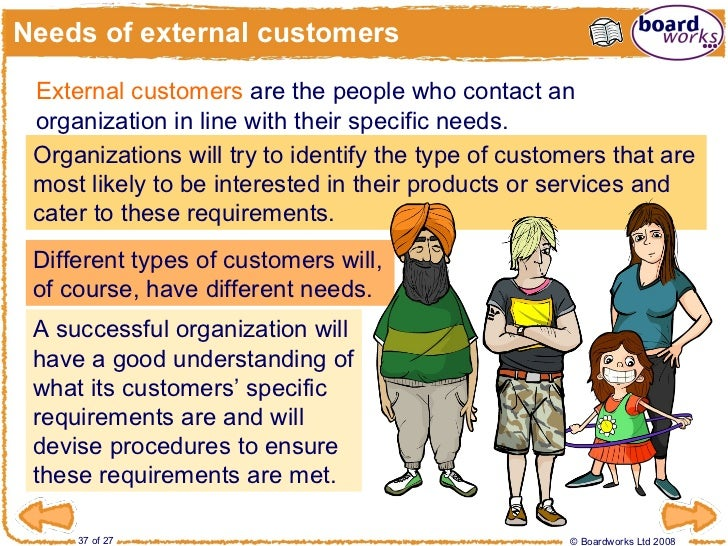 what are some examples of internal and external customers 1 external and internal customers 2 an external customer is someone who uses the products or services of the company but is not part of the organization an example of this is a customer who enters a store to buy its merchandise.