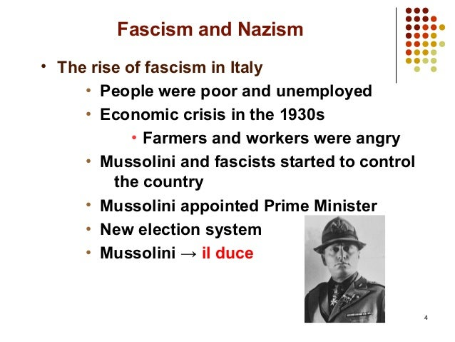nazism and fascism In the period between the first and the second world war, there were rises of totalitarianism in the world and nazism in germany and fascism in italy were the most.