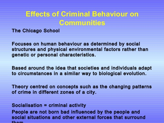 the psychological and biological circumstances that makes a criminal Criminology looks at how external factors, such as education and poverty, contribute to criminal behavior.