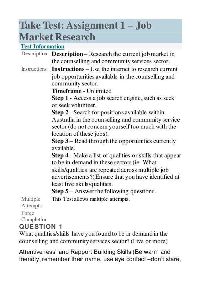 Unit 12 assignment 1 – job market research
