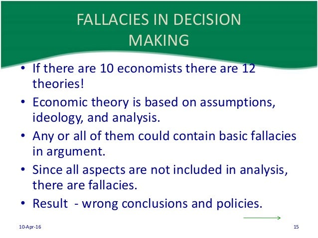 fallacies and pitfalls in economics This chapter begins with a discussion of the meaning and importance of economics in this first chapter and pitfalls that hinder sound economic fallacies 1.