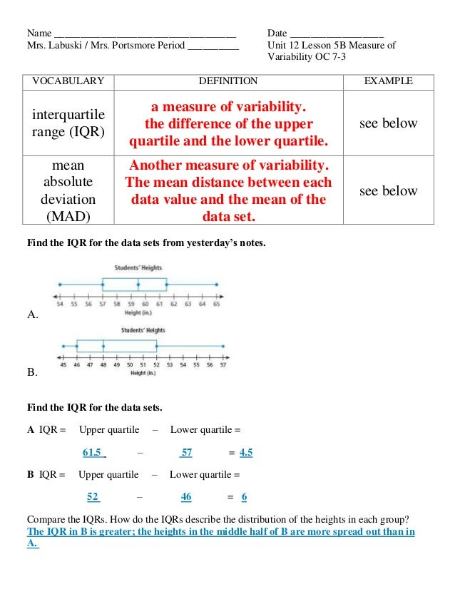 module on measures of variability (see the module on frequency  variability of the measures,  data analysis: describing data - descriptive statistics.
