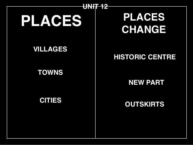 PLACES TOWNS VILLAGES HISTORIC CENTRE UNIT 12 CITIES OUTSKIRTS PLACES CHANGE NEW PART