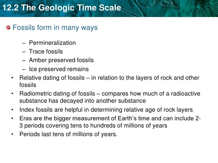 How is radioactive dating used to determine the age of a fossil