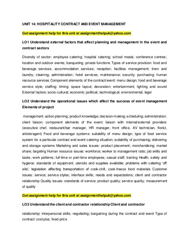 events management assignment 1 Unit 17- events, conferences and exhibitions - p1, p2, p3, m1 & d1 p1 in the first part of the assignment i will be briefly explaining the event, conference and exhibitions environment.