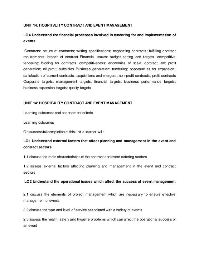 Unit 14: Hospitality Contract And Event Management