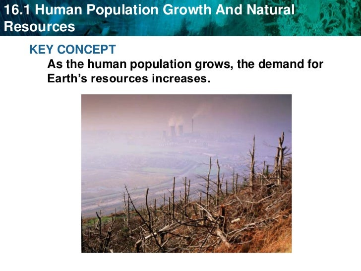 KEY CONCEPT As the human population grows, the demand for Earth's resources increases.     <br />