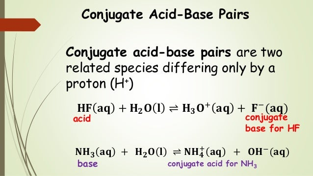 Conjugate Acid-Base Pairs Conjugate acid-base pairs are two related species differing only by a proton (H+) 𝐇𝐅 𝐚𝐪 + 𝐇 𝟐 𝐎 ...