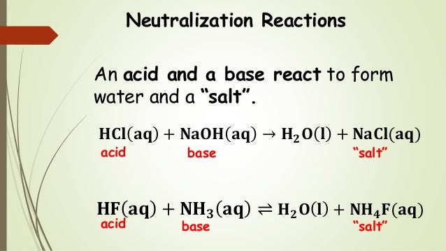 """Neutralization Reactions An acid and a base react to form water and a """"salt"""". 𝐇𝐂𝐥 𝐚𝐪 + 𝐍𝐚𝐎𝐇 𝐚𝐪 → 𝐇 𝟐 𝐎 𝐥 + 𝐍𝐚𝐂𝐥(𝐚𝐪) 𝐇𝐅 𝐚𝐪 ..."""