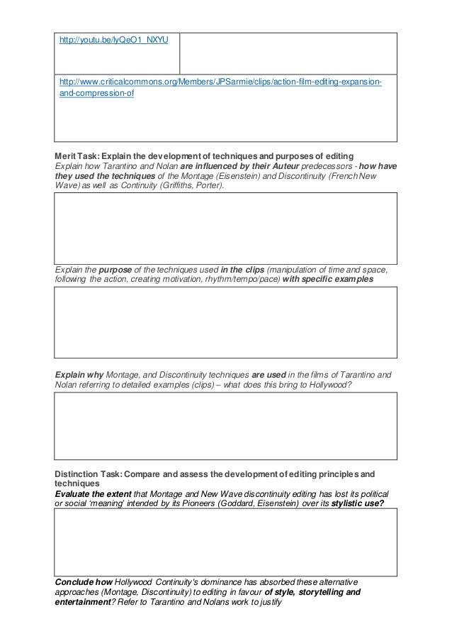 Unit 16 tarantino and nolan worksheet – Editing Worksheet