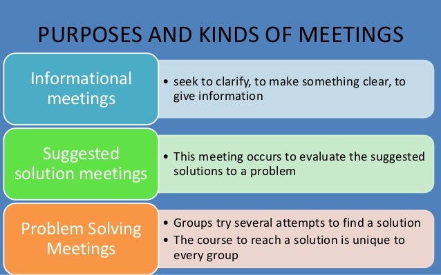 PURPOSES AND KINDS OF MEETINGS  • seek to clarify, to make something clear, to  give information  Informational  meetings ...