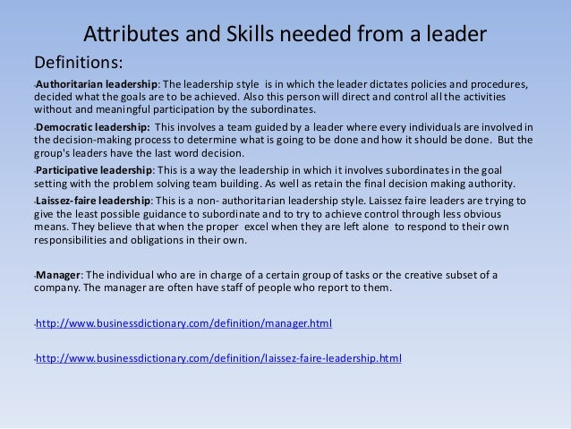 attributes and skills needed by a team leader
