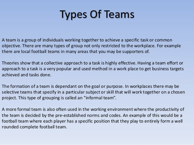example of teamwork in the workplace