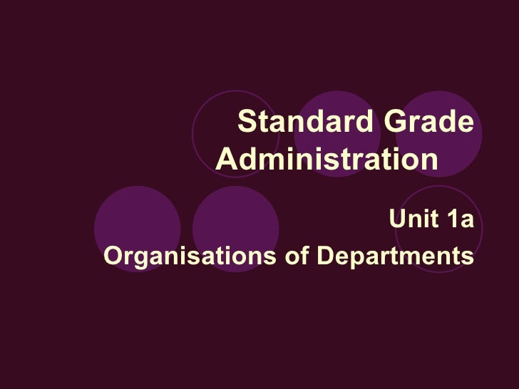 Standard Grade Administration Unit 1a Organisations of Departments