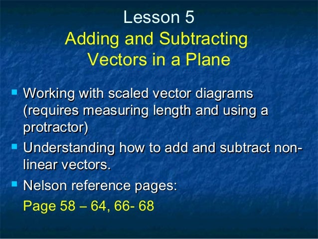 Lesson 5 Adding and Subtracting Vectors in a Plane  Working with scaled vector diagramsWorking with scaled vector diagram...