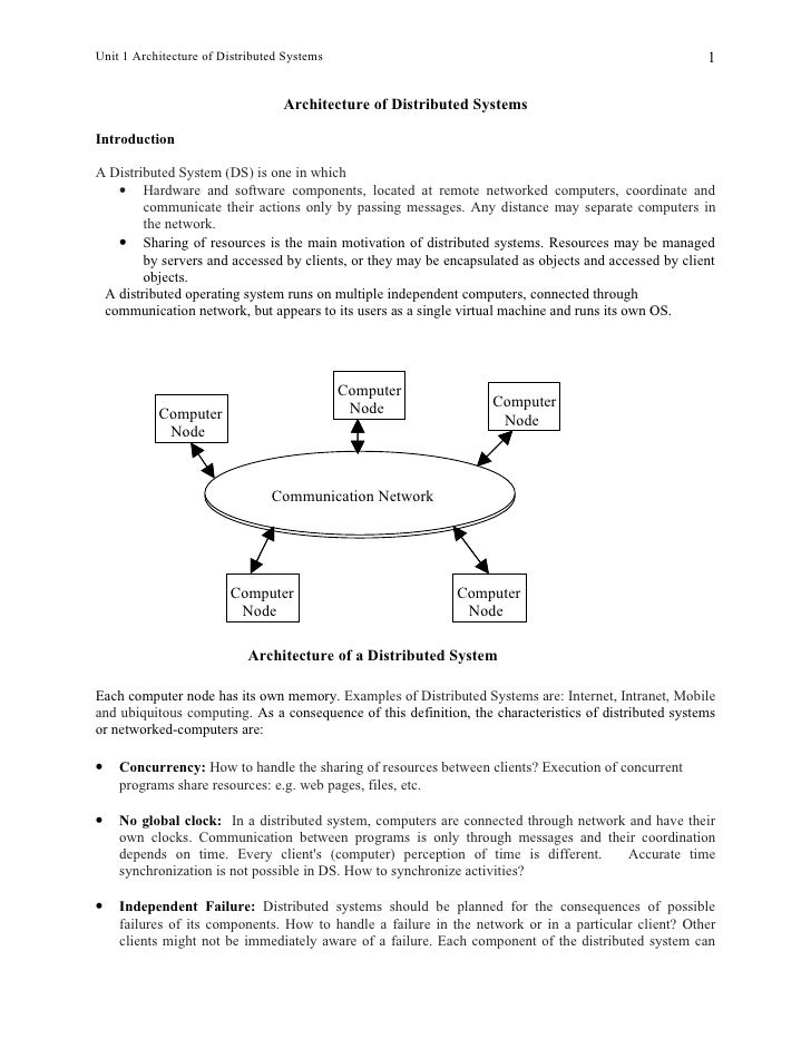 unit 1 architecture of distributed systems