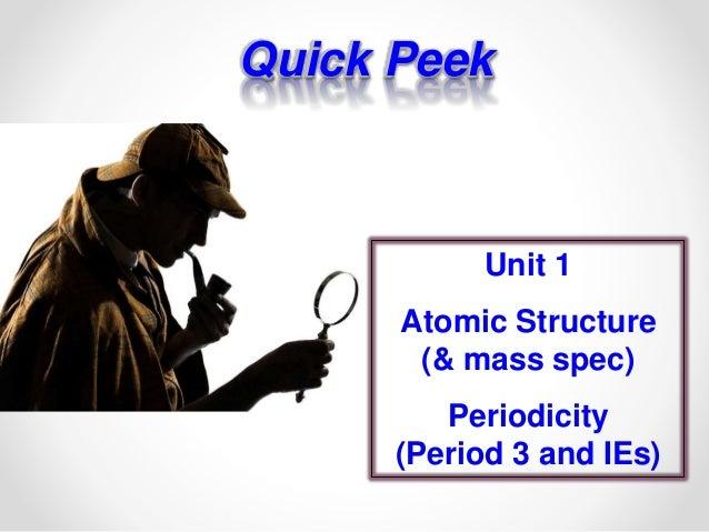 Unit 1 Atomic Structure (& mass spec) Periodicity (Period 3 and IEs) Quick Peek
