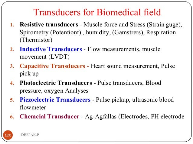 Transducers for Biomedical field 1. Resistive transducers - Muscle force and Stress (Strain guge), Spirometry (Potentiont)...