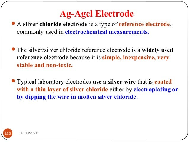 Ag-Agcl Electrode A silver chloride electrode is a type of reference electrode, commonly used in electrochemical measurem...