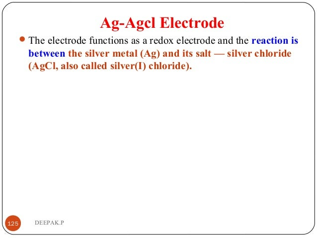 Ag-Agcl Electrode The electrode functions as a redox electrode and the reaction is between the silver metal (Ag) and its ...