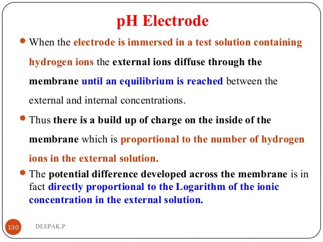 pH Electrode When the electrode is immersed in a test solution containing hydrogen ions the external ions diffuse through...