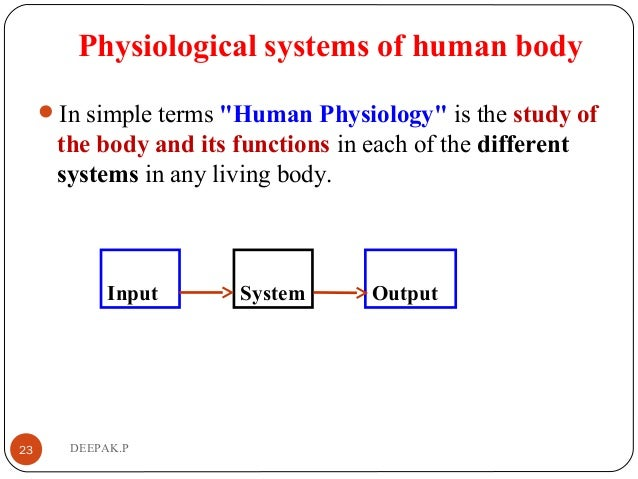 """Physiological systems of human body In simple terms """"Human Physiology"""" is the study of the body and its functions in each..."""