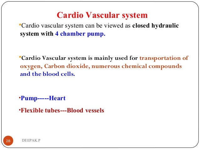 Cardio Vascular system Cardio vascular system can be viewed as closed hydraulic system with 4 chamber pump. Cardio Vascu...