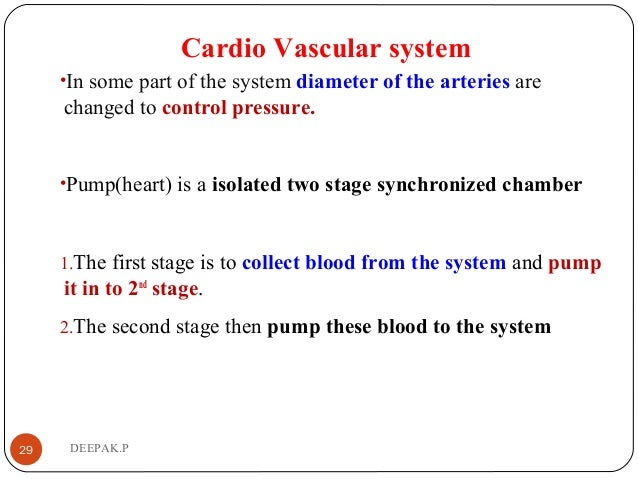 Cardio Vascular system •In some part of the system diameter of the arteries are changed to control pressure. •Pump(heart) ...