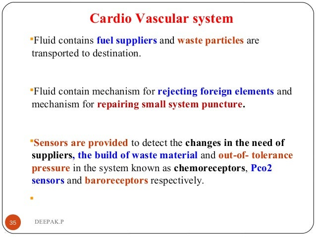 Cardio Vascular system Fluid contains fuel suppliers and waste particles are transported to destination. Fluid contain m...
