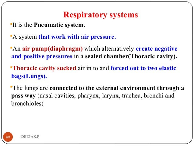 Respiratory systems It is the Pneumatic system. A system that work with air pressure. An air pump(diaphragm) which alte...